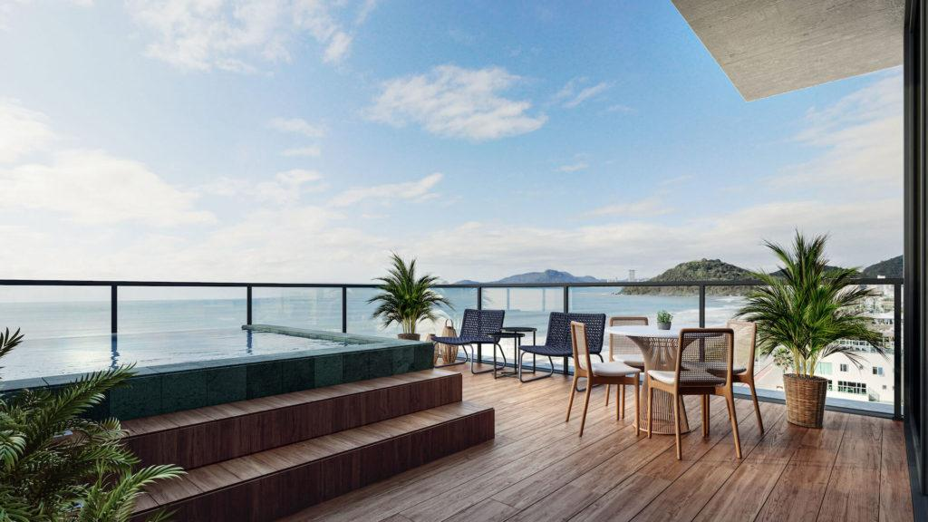 Apartment with an outdoor area that overlooks the beach.