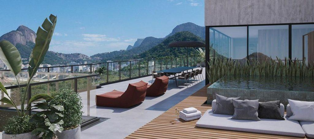 Apartment with large outdoor area and wooden deck with swimming pool.