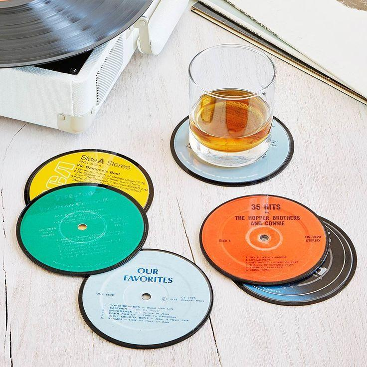 Center labeled LPs as coasters.