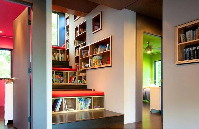 Furniture can be custom-made to create your home library.