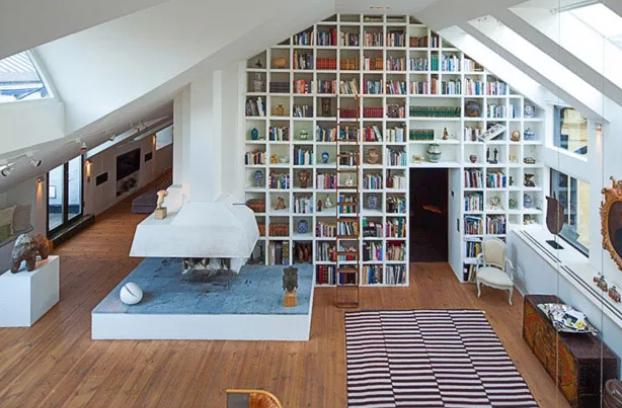 Home library in the living wall style