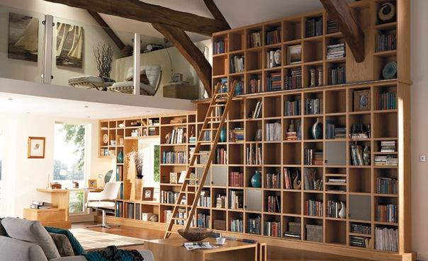 Home library incorporated into the living room.