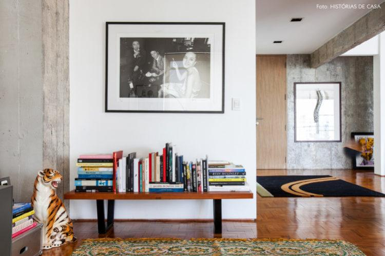 Home library using the surface of a sideboard.