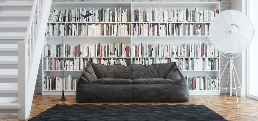 Home library with bookshelves