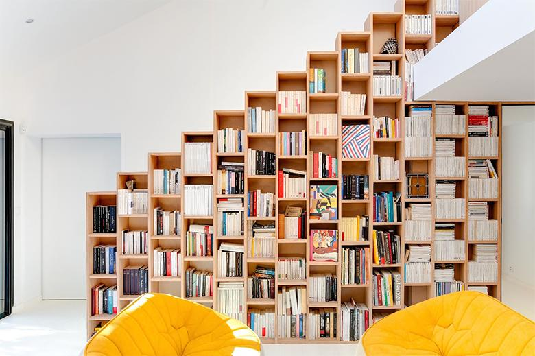 Home library with climbing niches