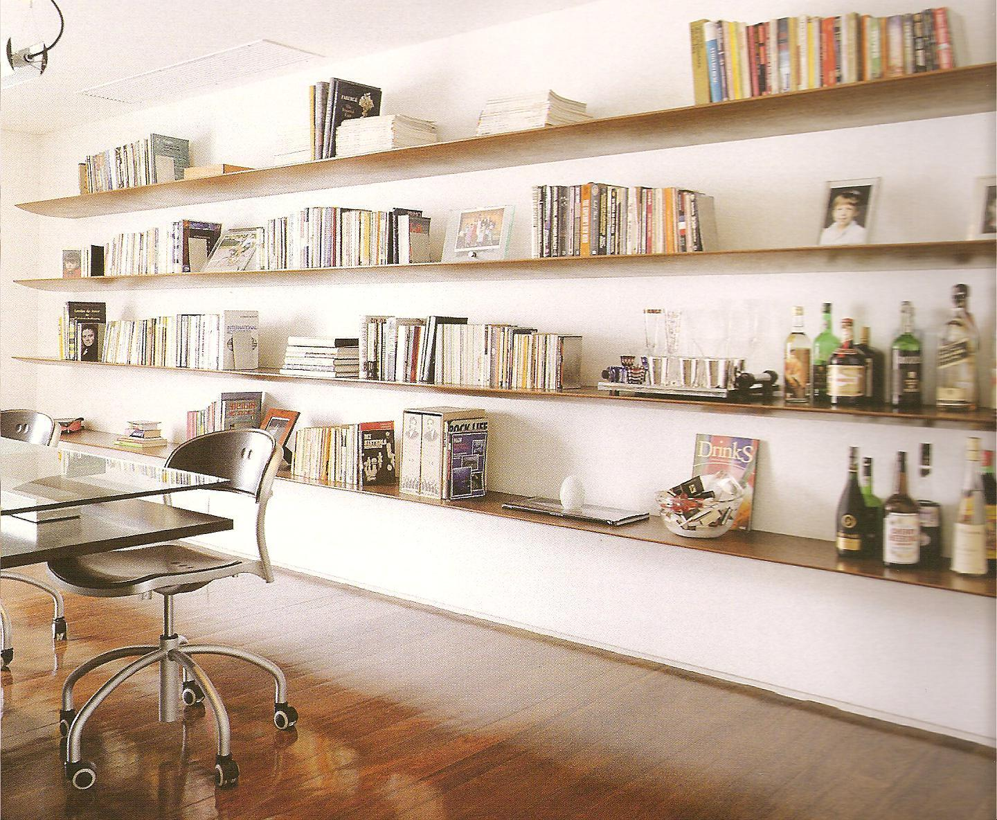 Home library with shelves