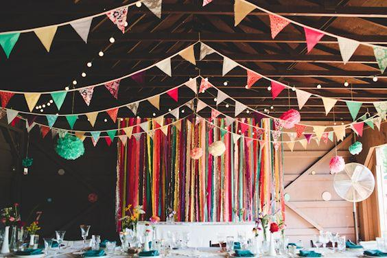 Junina party decoration: little flags and paper ornaments.