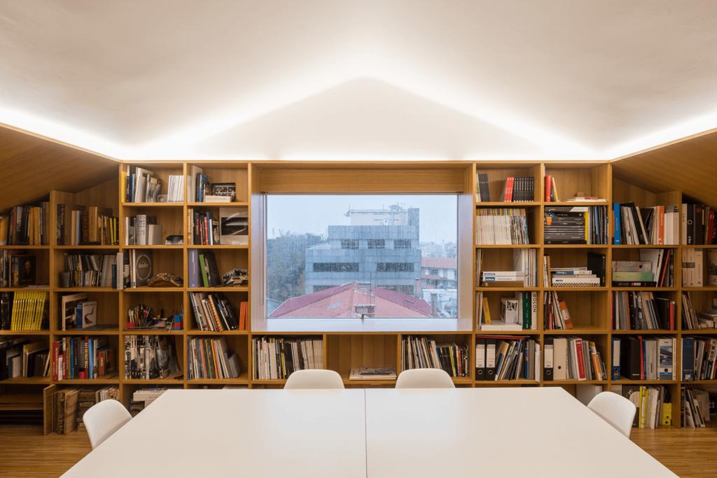 Library with niches shelf.  Costa Lima Architects Office.  Source: Costa Lima Architects