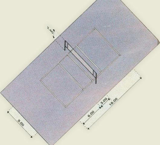 Measured volleyball sports court.