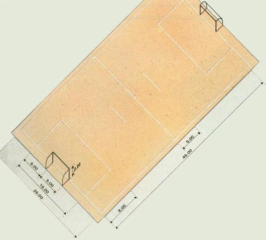 Measurements of the Futebol Society sports court - soccer court, very similar to the futsal court
