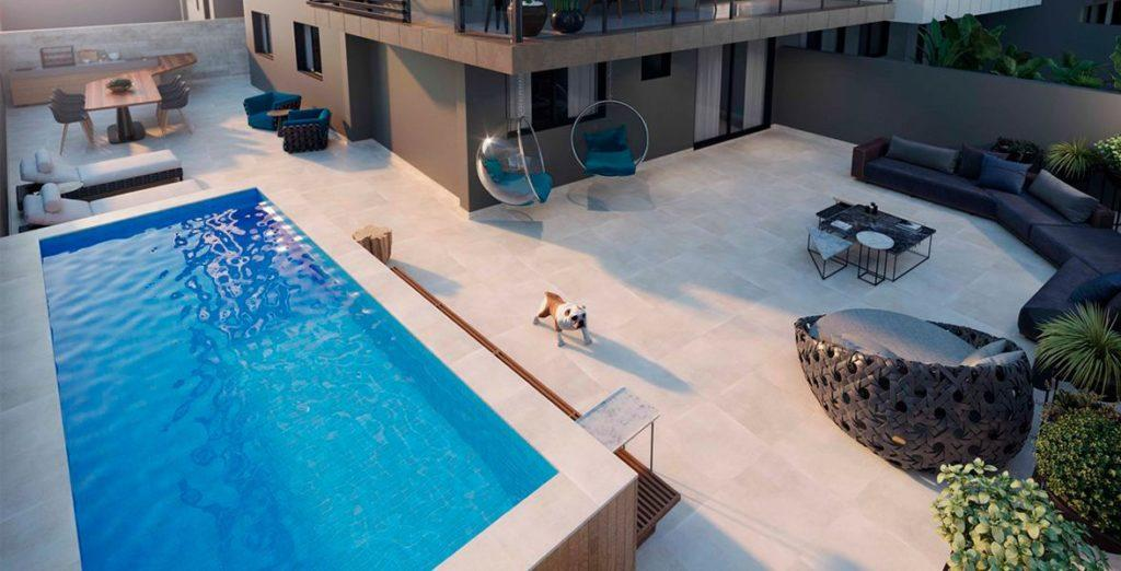 Private area of a garden apartment with swimming pool.