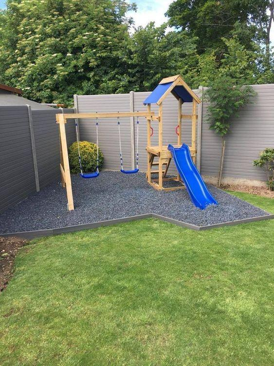 Space for children with swing and slide.