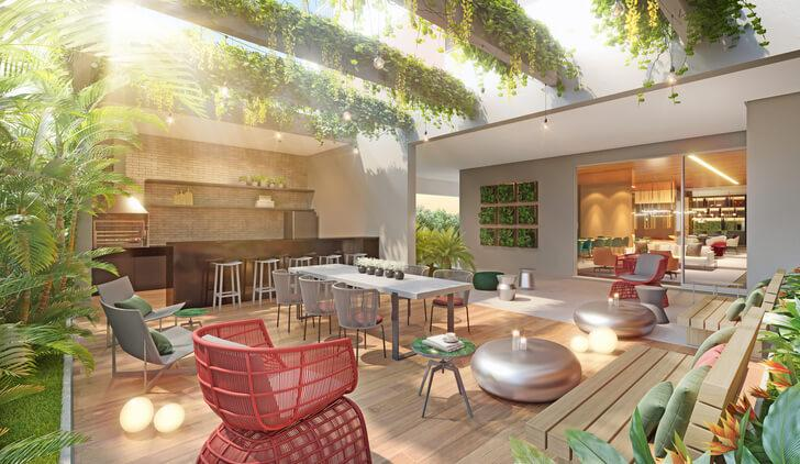 View of the Atmosfera 360º garden Grill with party lounge in the background.