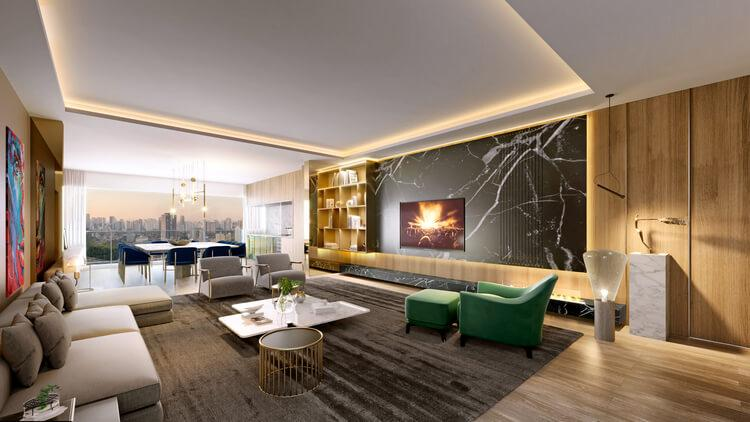 View of the integrated living room of the 157 m² apartment in the development.