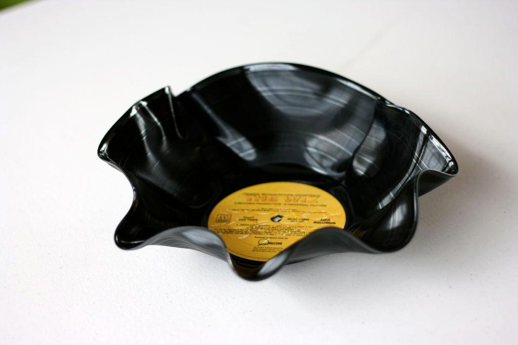 Vinyl record as container or bowl.