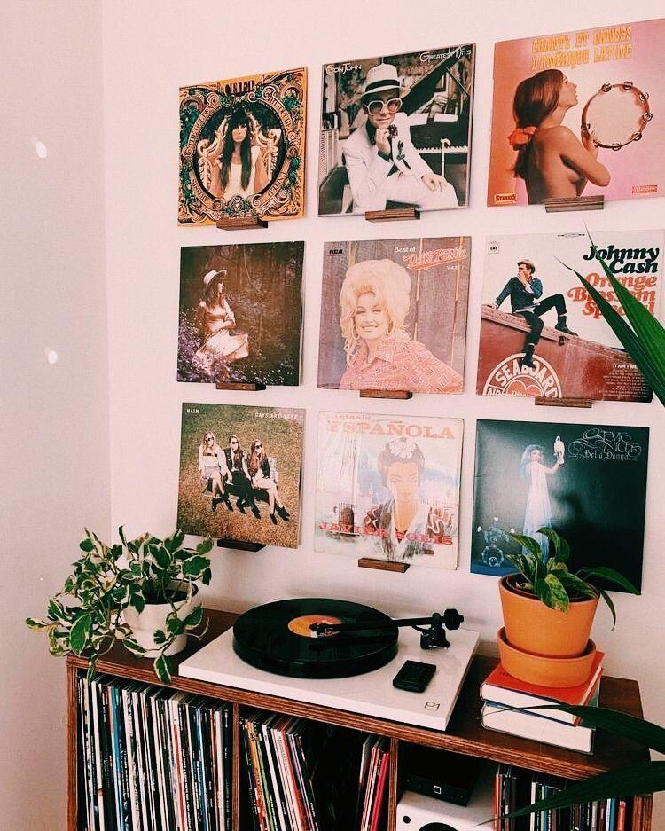 Vinyl record covers as wall decoration.