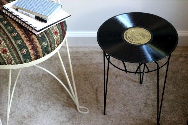 Vinyl record used to decorate and function as a stool.