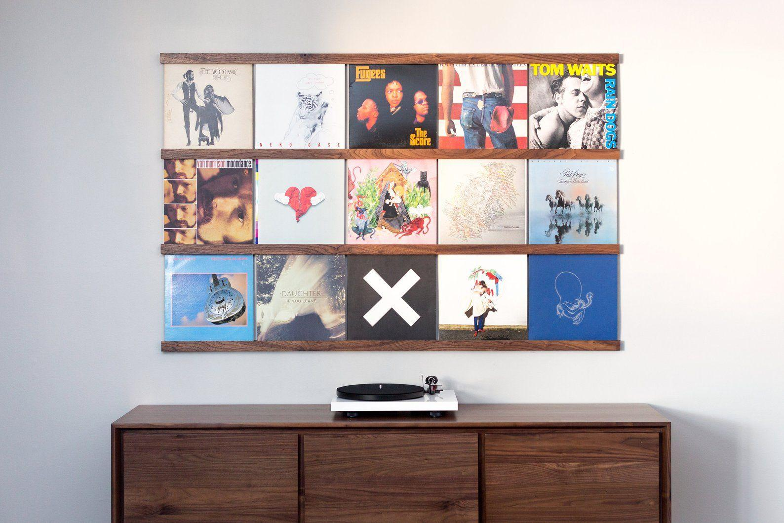 Vinyl records on a wall decoration.