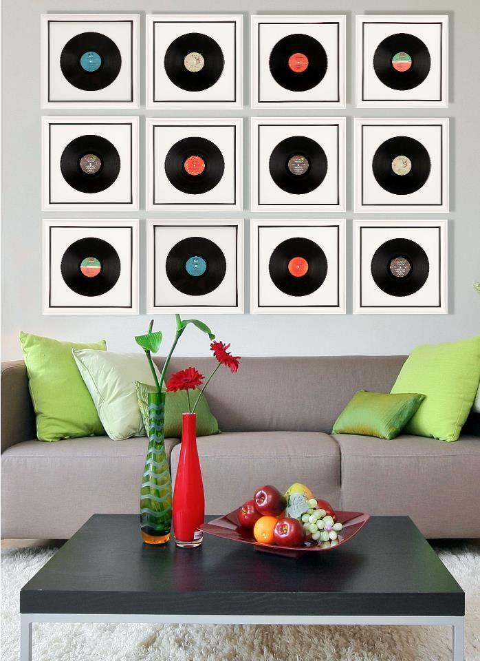 Vinyl records placed on the wall as frames in the decor.